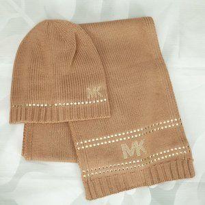 Michael Kors Stud Stripe Hat & Scarf Designer Set